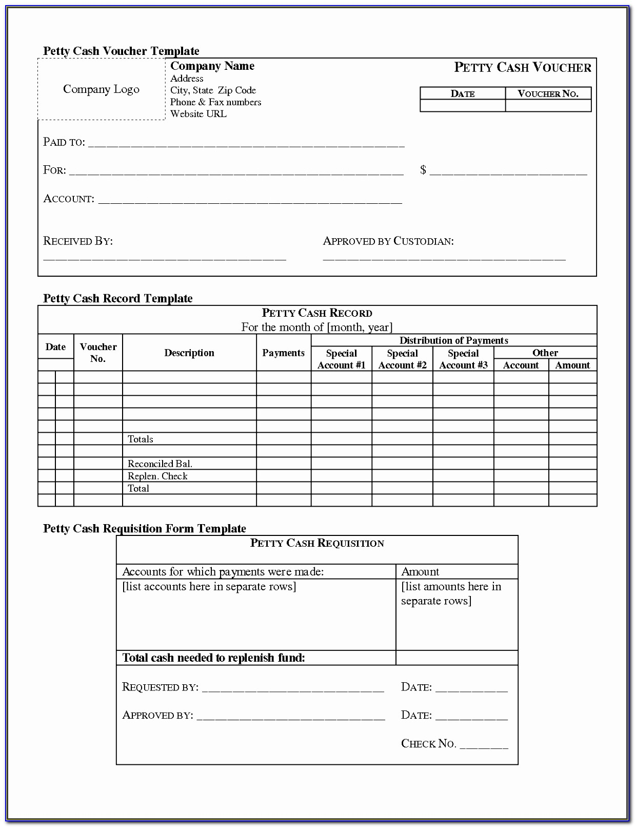 Free Petty Cash Reconciliation Form Template