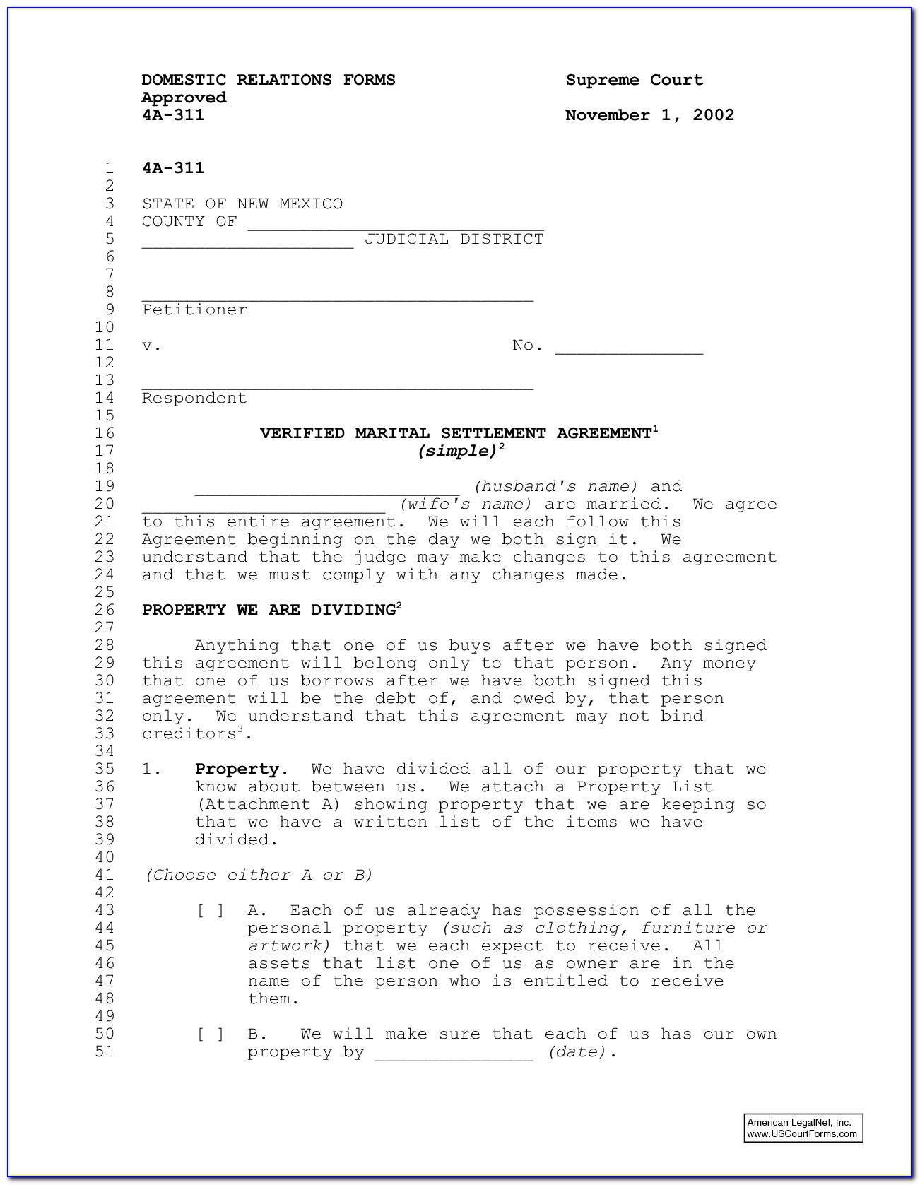 Free Postnuptial Agreement Form Pdf