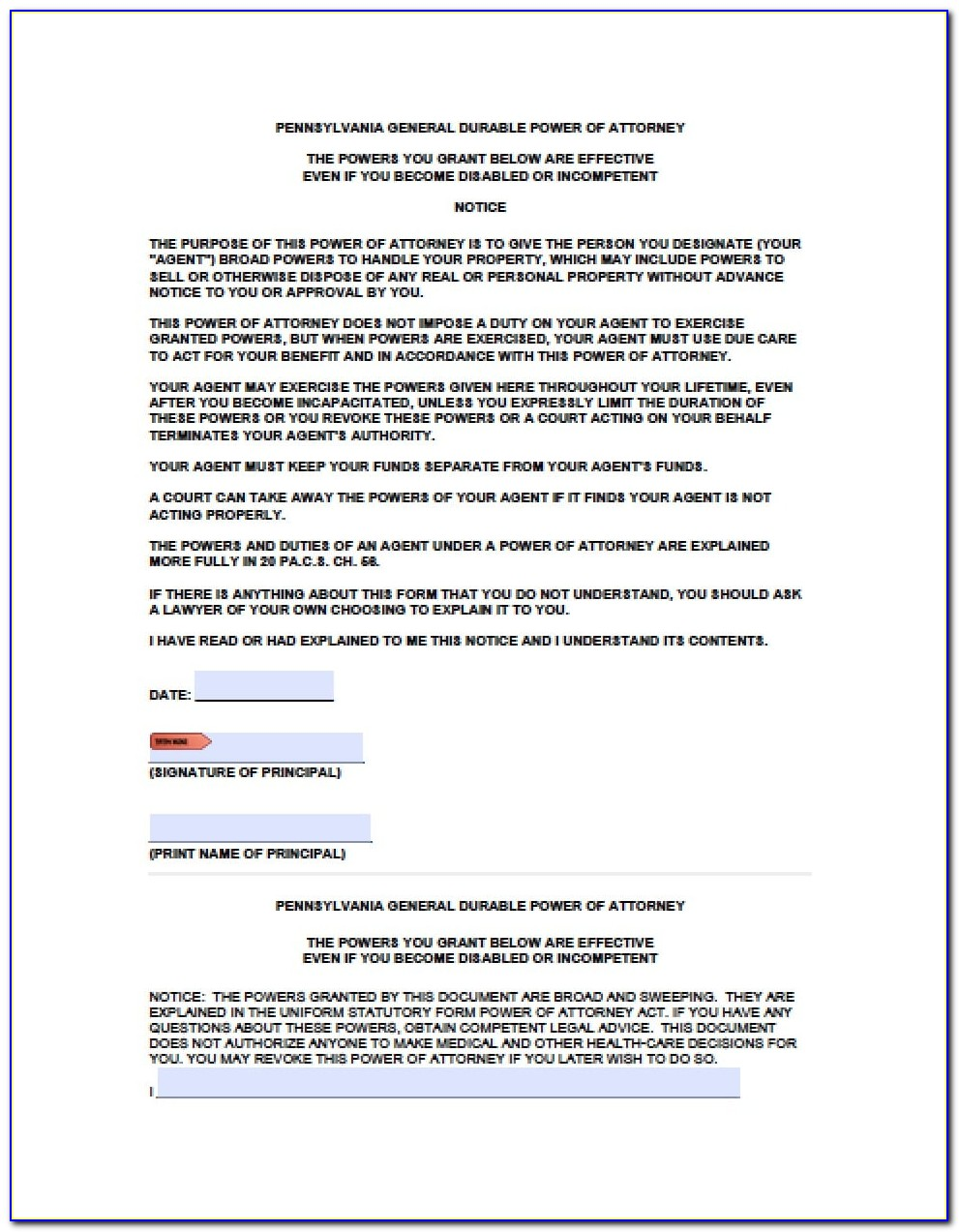 Free Power Of Attorney Form Florida Child