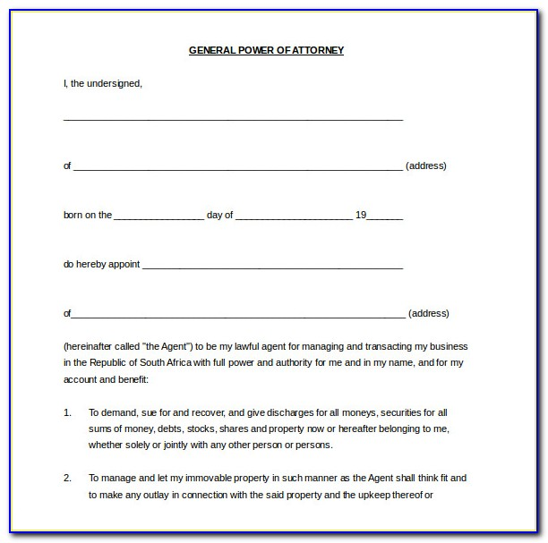 Free Power Of Attorney Template South Africa