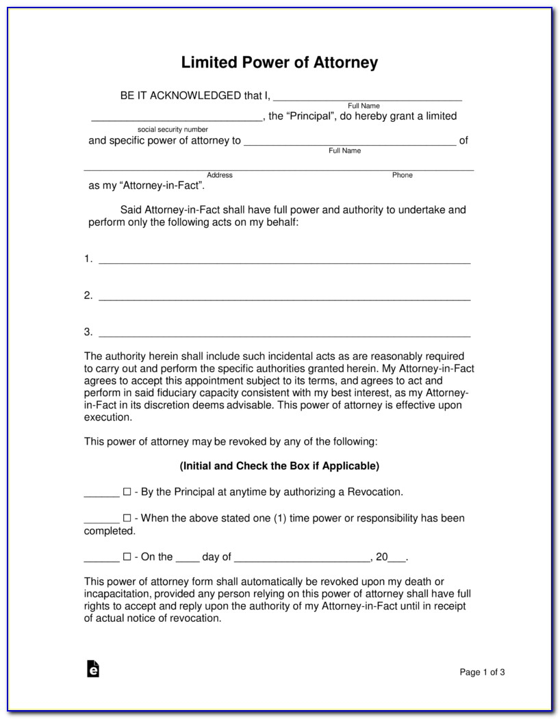 Free Power Of Attorney Word Document
