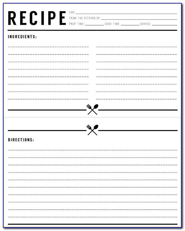 Full Page Recipe Template Free
