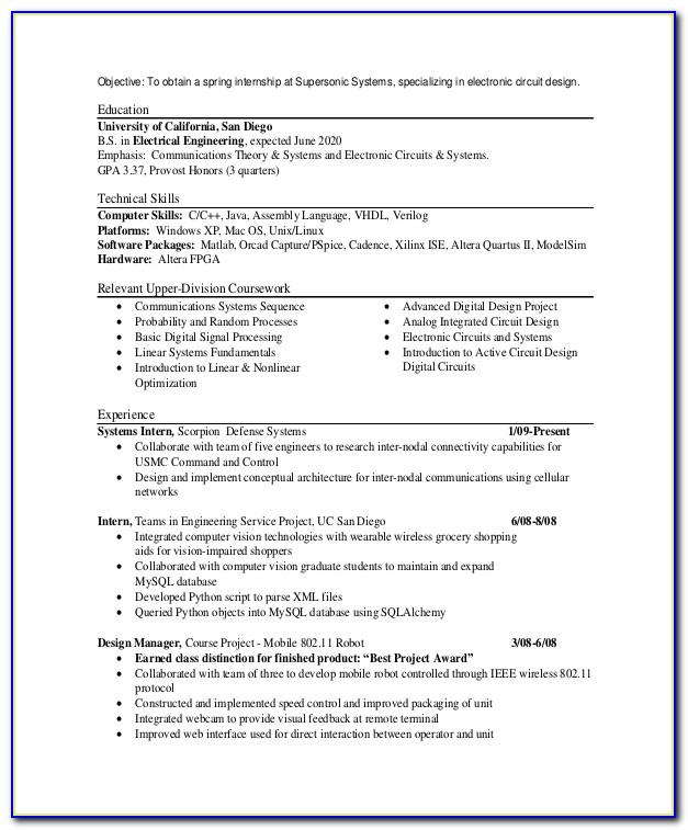 Good Objective For Engineering Internship Resume