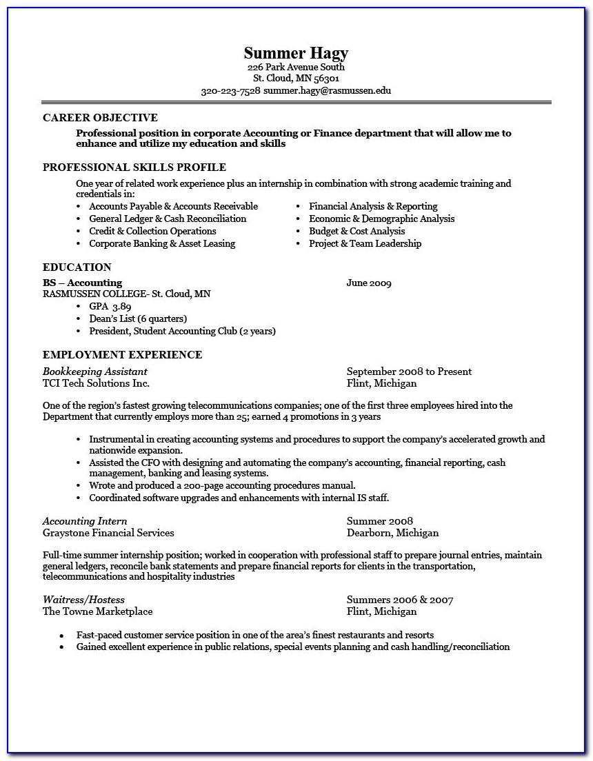 Good Objective Statements For Internship Resume