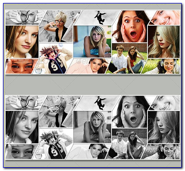 Google+ Photo Collage Photoshop Template Free Download
