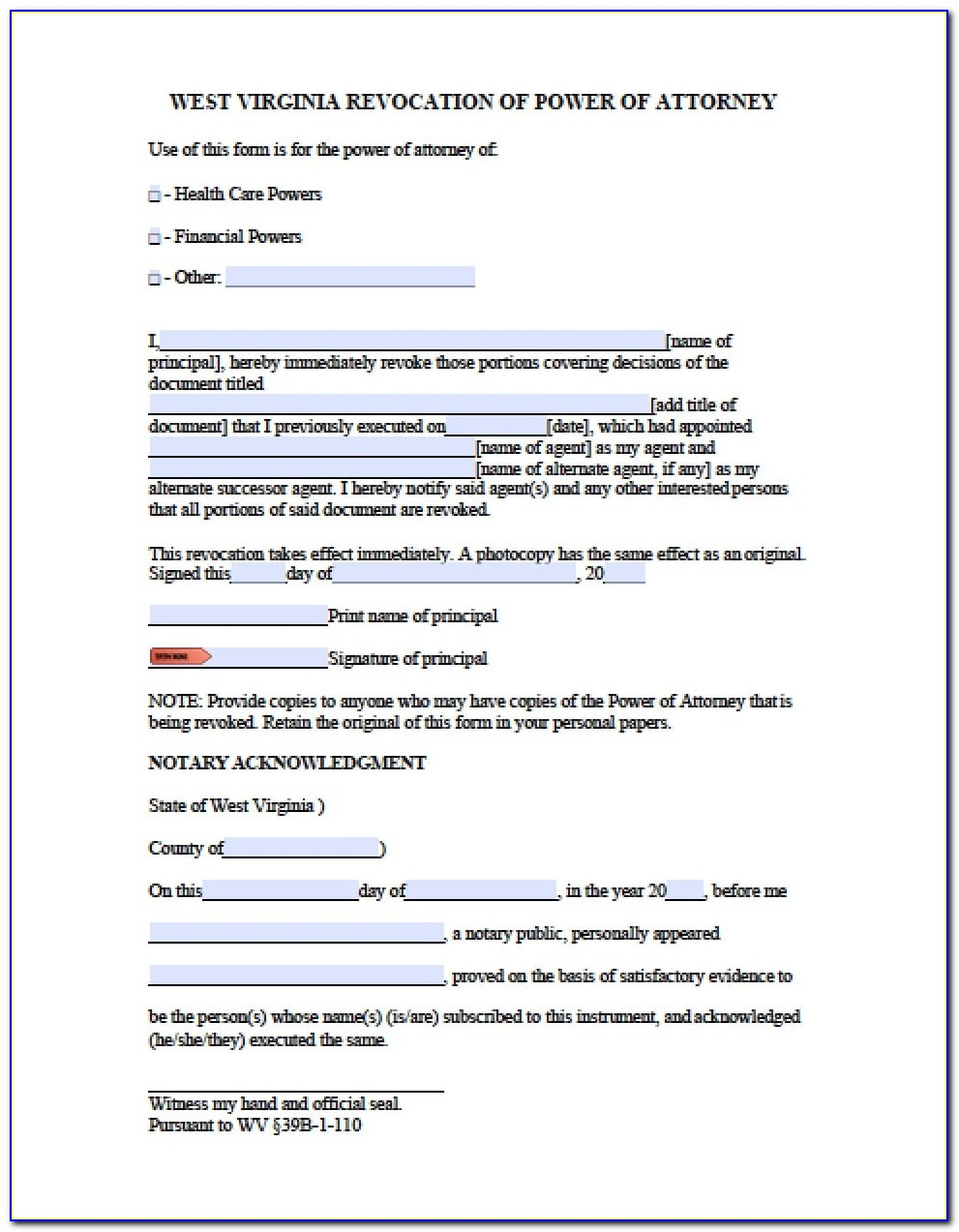Limited Power Of Attorney Template Virginia