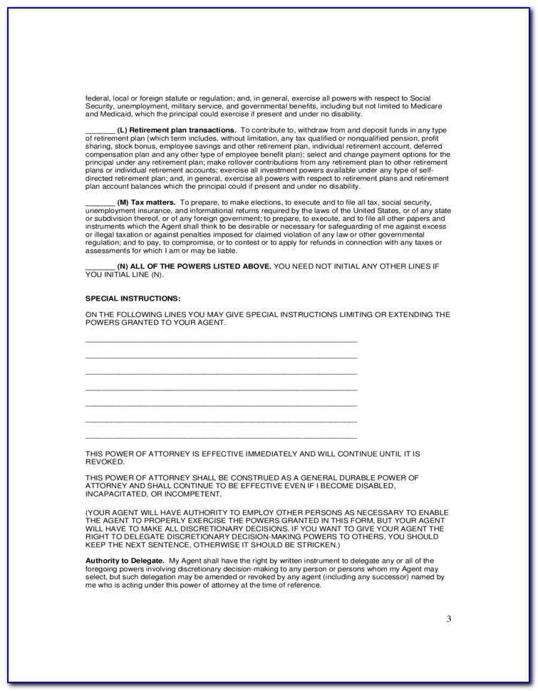 Limited Power Of Attorney Word Template