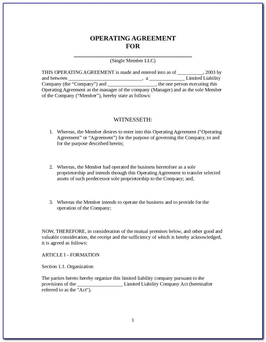 Llc Operating Agreement Template Missouri Free