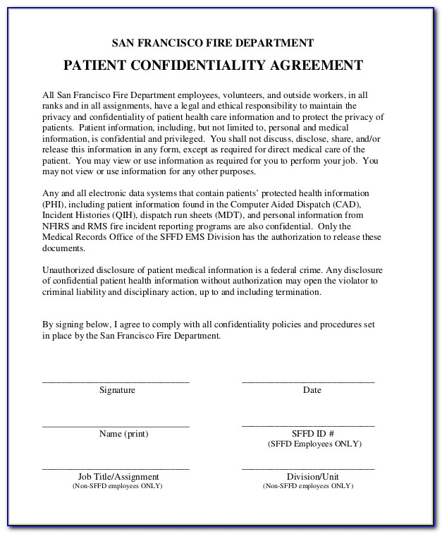 Medical Confidentiality Agreement Template