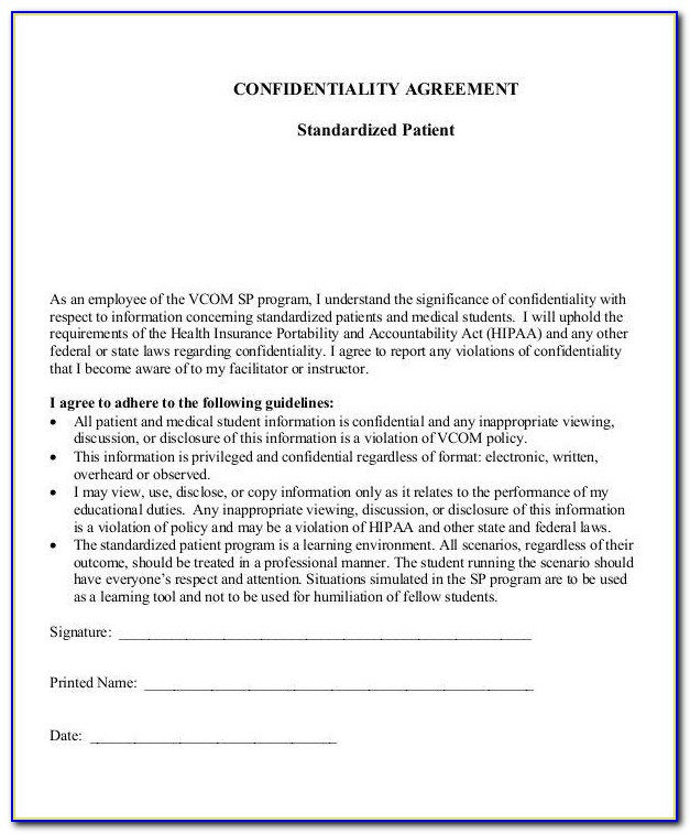 Medical Employee Confidentiality Agreement Template