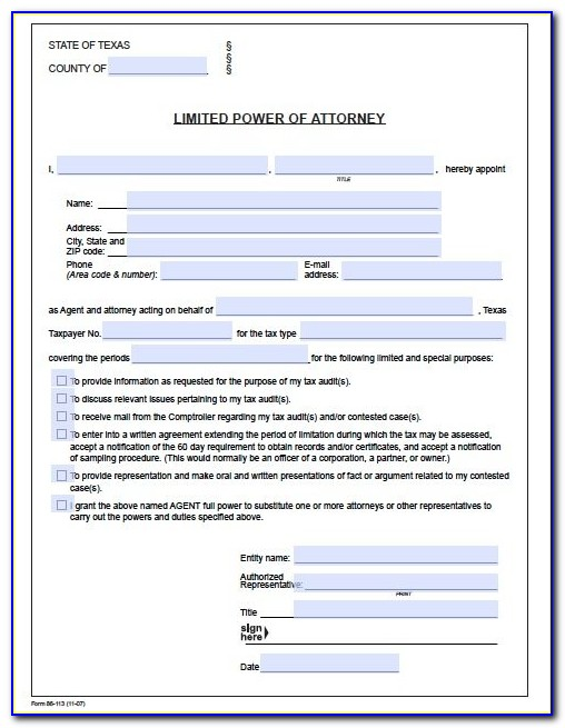Medical Power Of Attorney Texas Form 2017