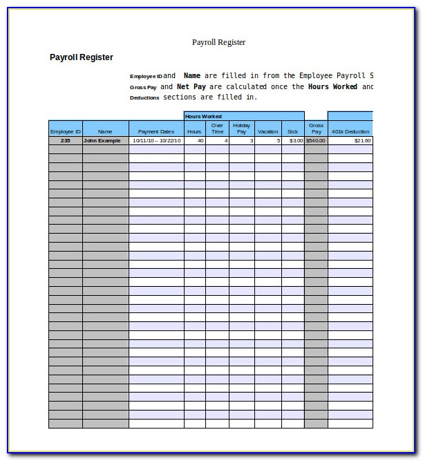 Microsoft Excel Payroll Calculator Template Free Download