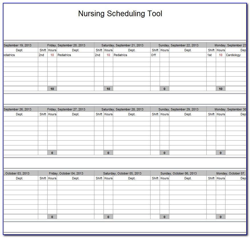 Nursing Shift Schedule Template