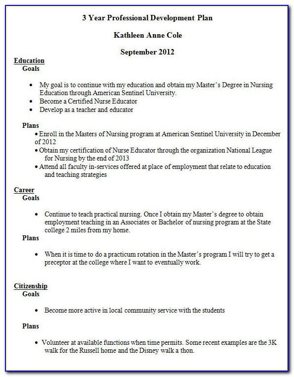 Nursing Staff Development Plan Template