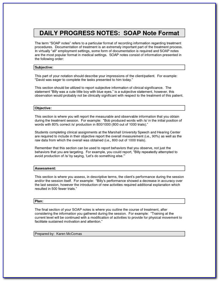 Occupational Therapy Soap Note Sample