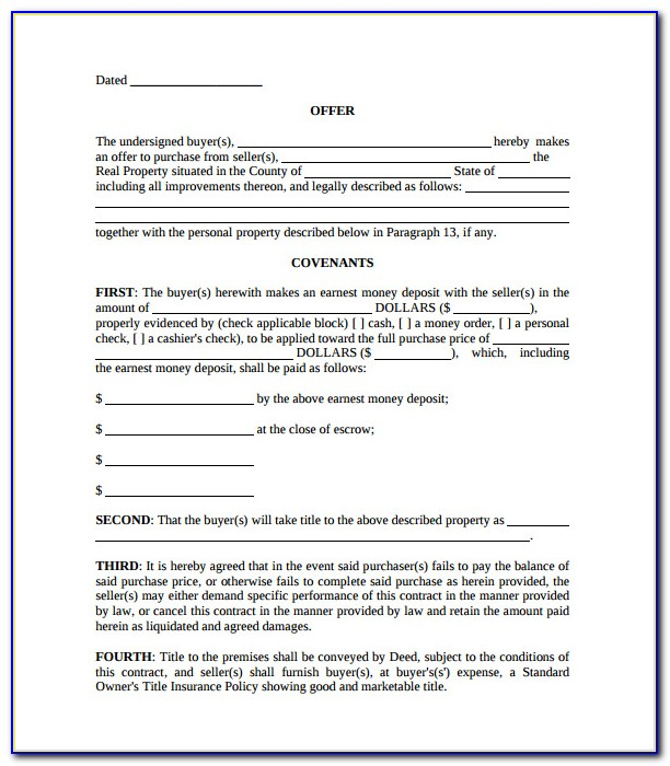 Offer And Acceptance Contract Template