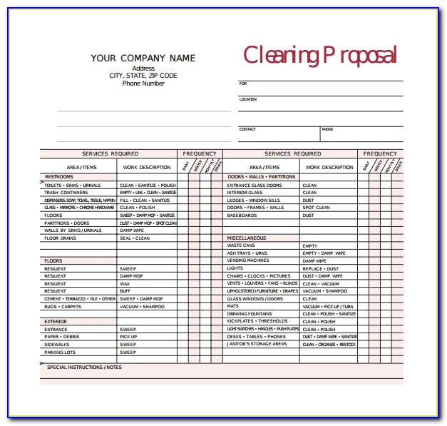 Office Cleaning Bid Proposal Template Free