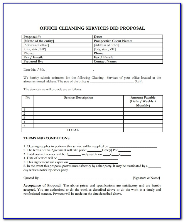 Office Cleaning Bid Template
