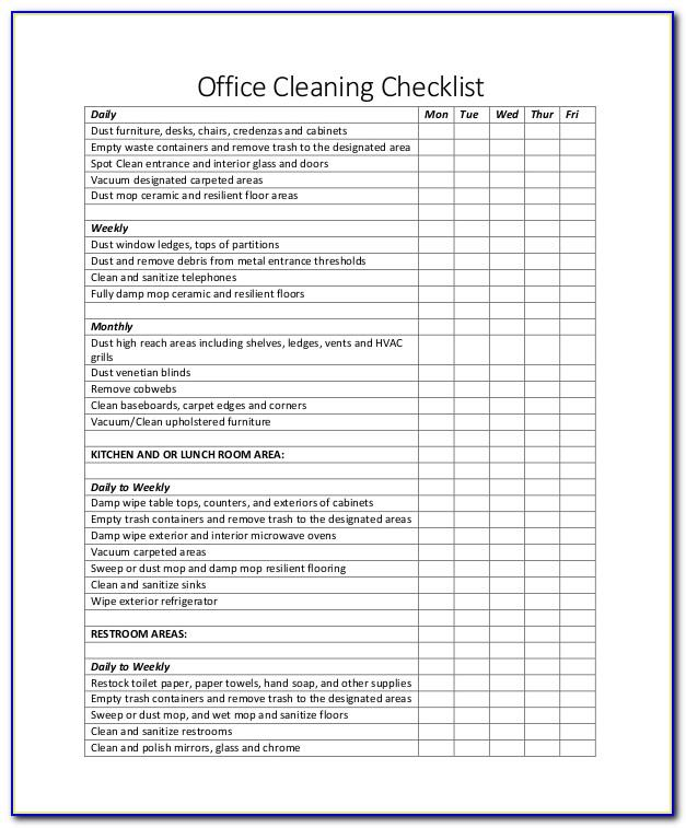 Office Cleaning Checklist Sample