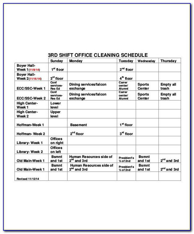 Office Cleaning Checklist Template Excel