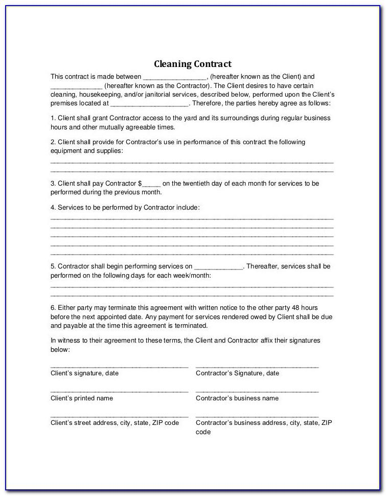 Office Cleaning Contract Template Uk