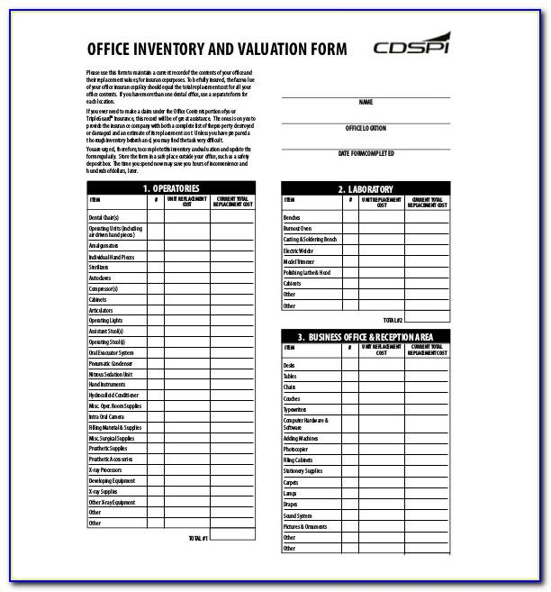 Office Equipment Inventory Form