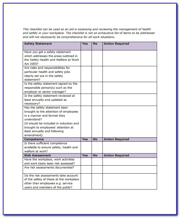 Office Safety Checklist Example