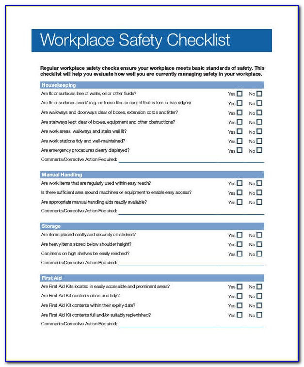 Office Safety Inspection Checklist Template
