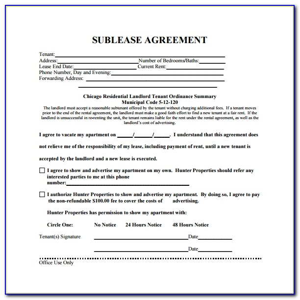 Office Sublease Agreement Template Free