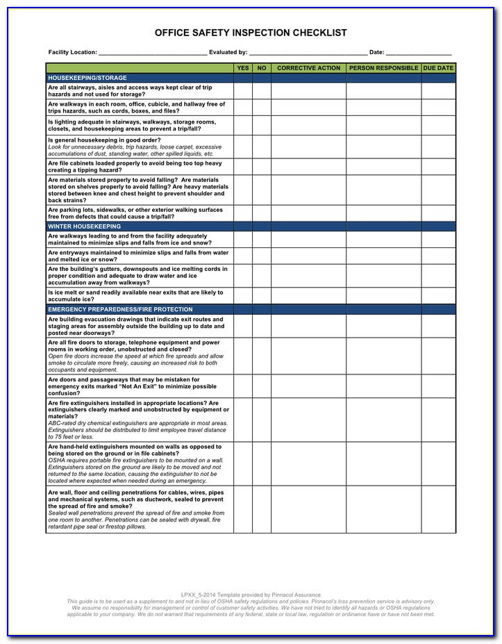 Office Workplace Inspection Checklist Template