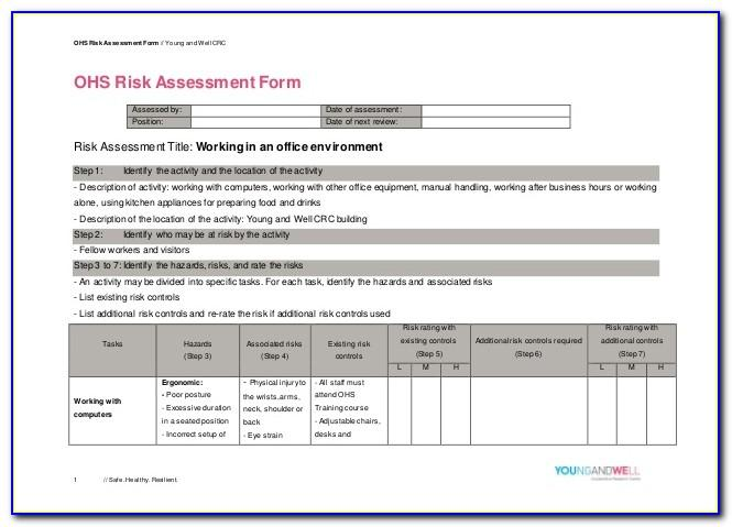 Ohs Risk Assessment And Control Form