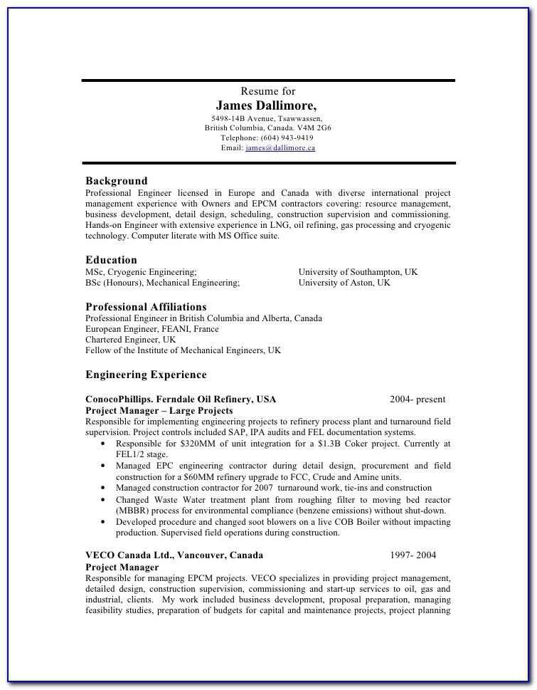Oil And Gas Field Electrical Engineer Resume Sample