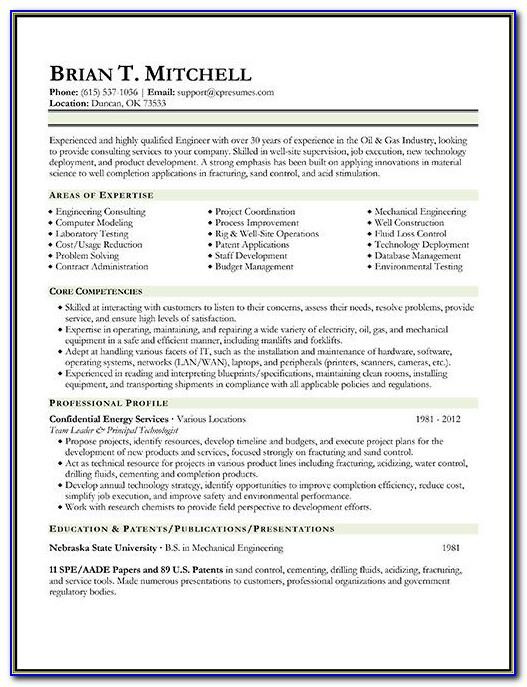 Oil And Gas Industry Cv Template
