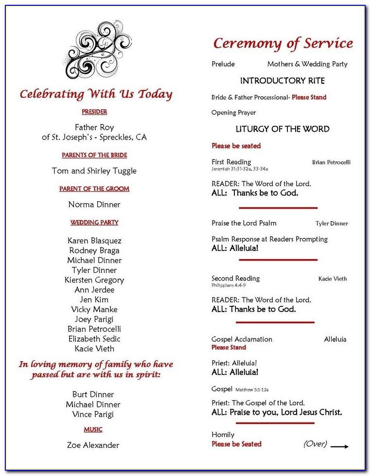 One Page Wedding Ceremony Program Examples