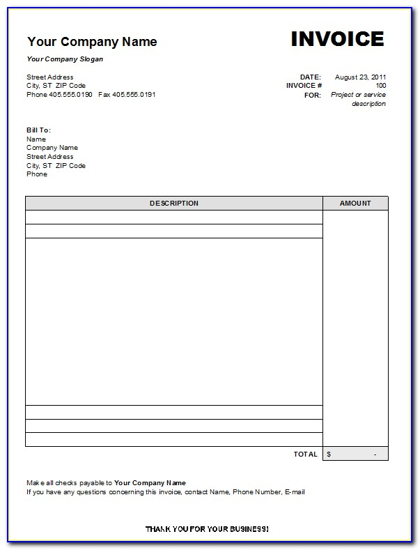 Online Invoice Format Excel Free Download