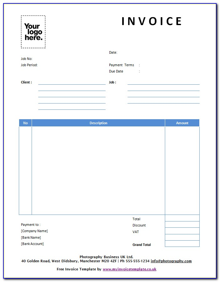 Online Invoices Free Template Uk