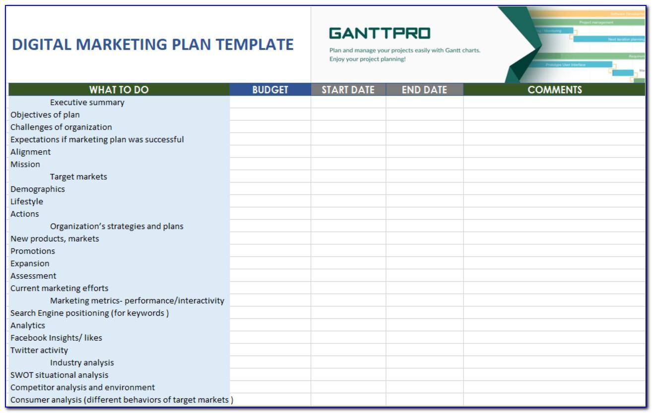 Online Marketing Plan Template Free