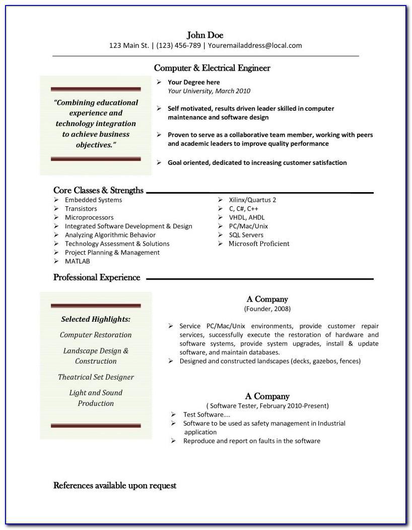 Online Resume Template Free Mac
