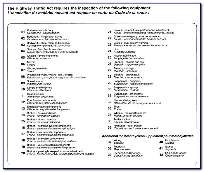 Ontario Vehicle Safety Inspection Checklist Template