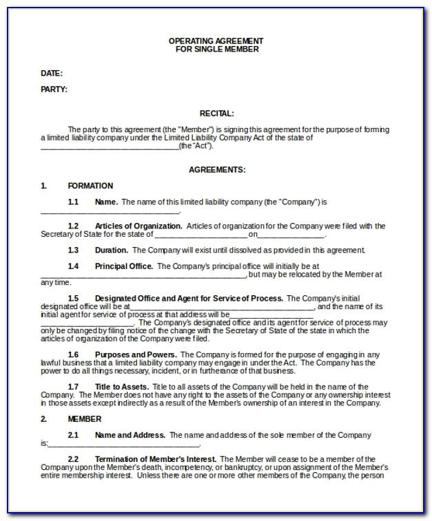 Operating Agreement Llc Format