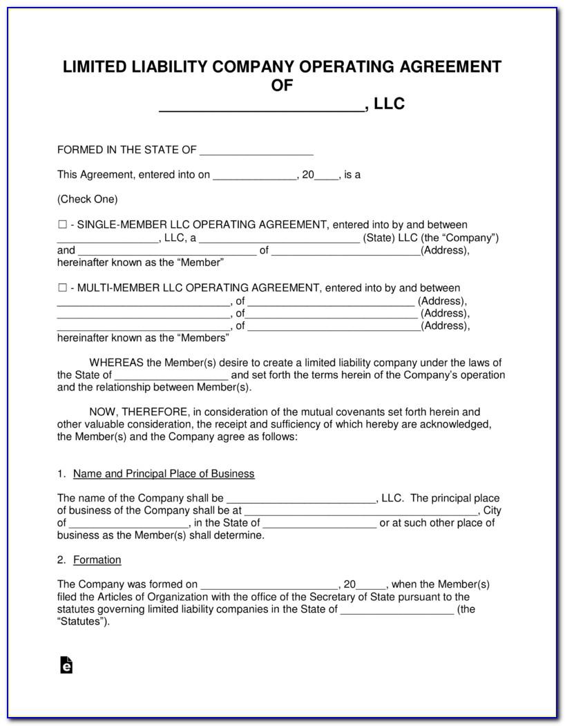 Operating Agreement Llc Ohio Sample