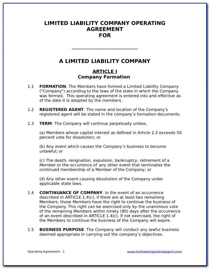Operating Agreement Llc Oregon Template