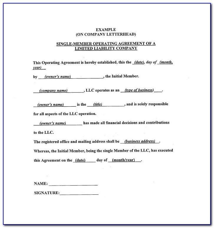 Operating Agreements For Single Member Llc