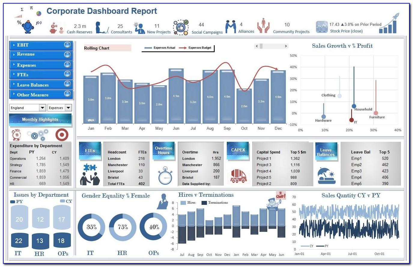 Operational Dashboard Excel Templates