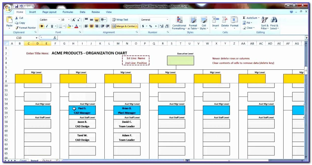Organizational Chart Template Doc