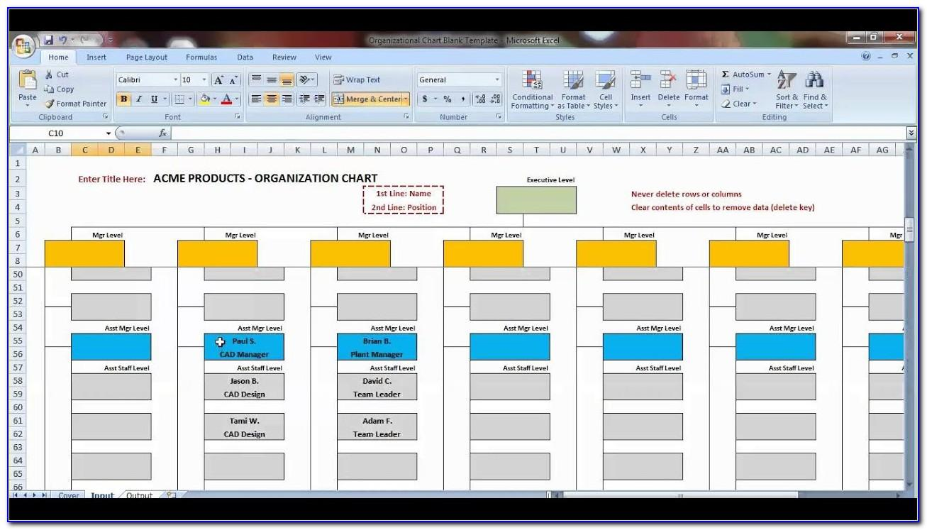 Organizational Chart Template Microsoft Excel