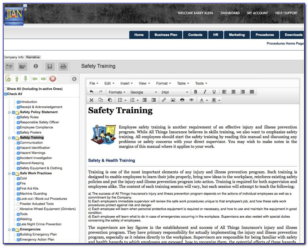 Osha Approved Safety Plan Template Free