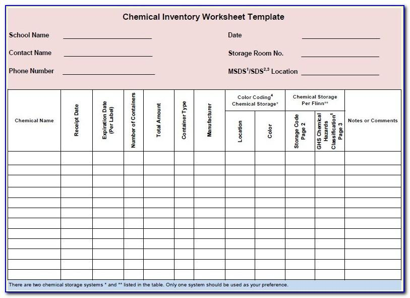 Osha Chemical Inventory Form