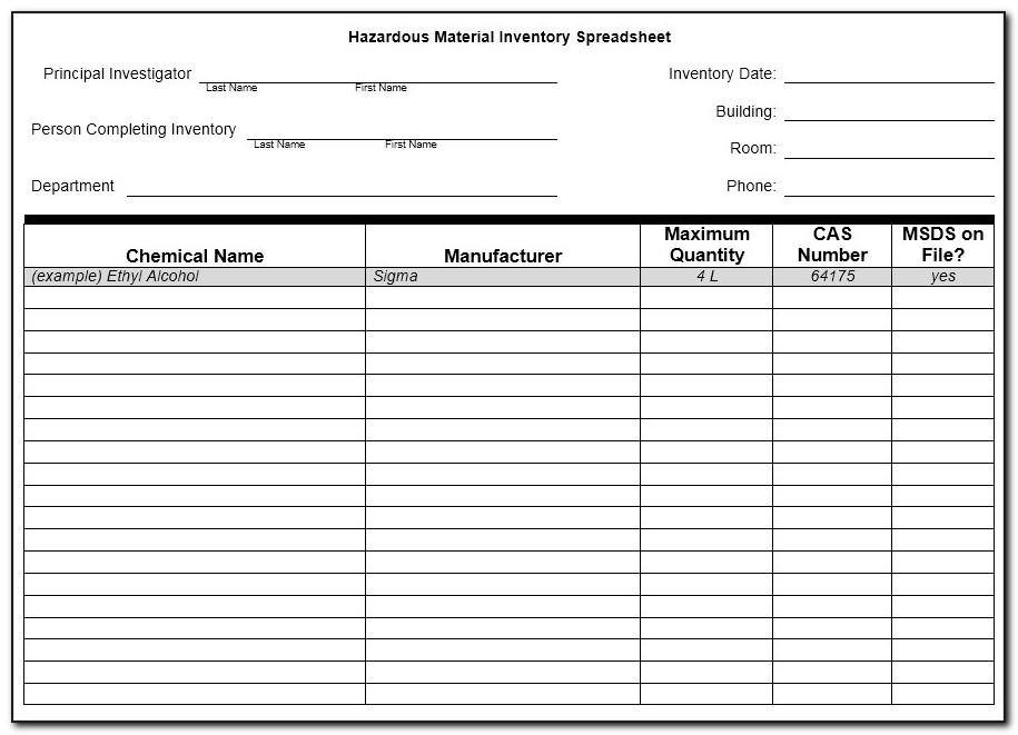 Osha Chemical Inventory Template