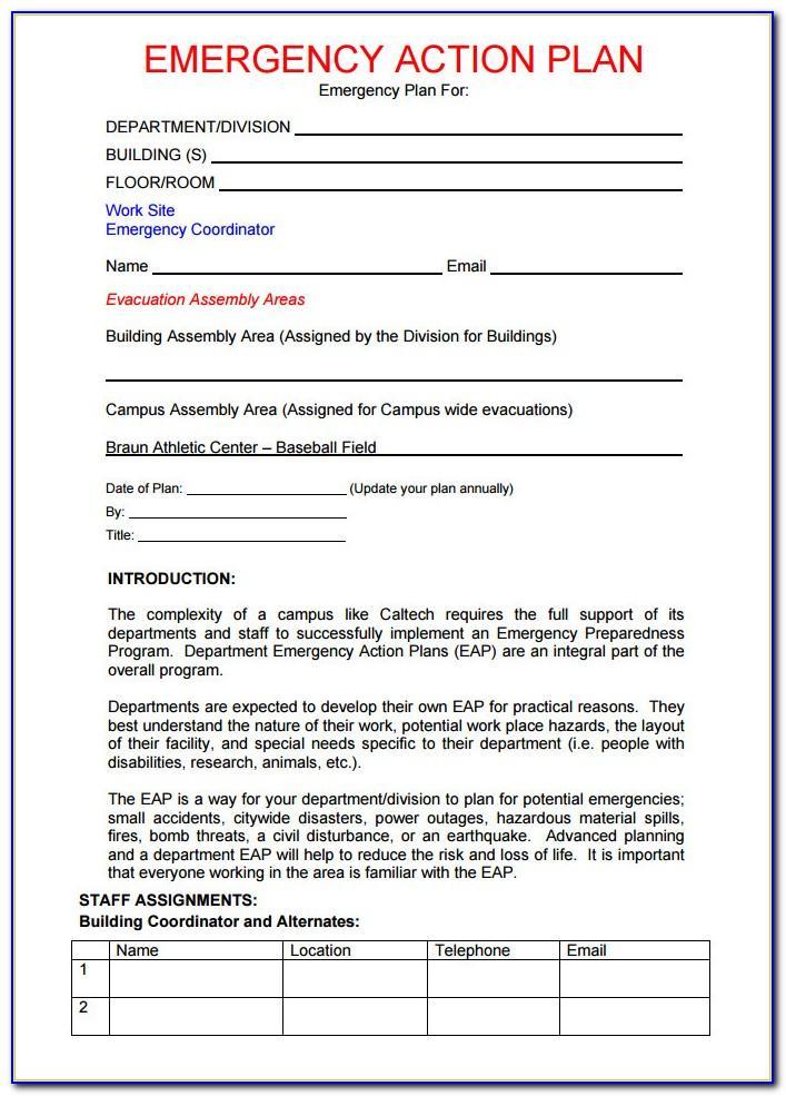 Osha Emergency Action Plan Sample